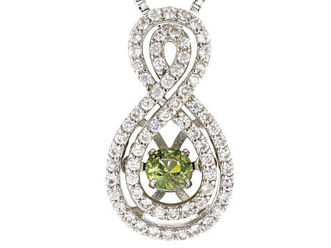 Green Dancing Demantoid Garnet Silver Pendant With Chain .58ctw