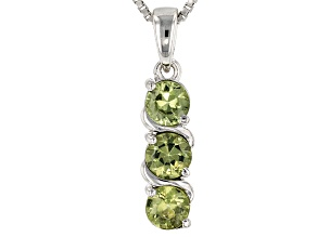 Green Demantoid Garnet Sterling Silver Pendant With Chain .69ctw