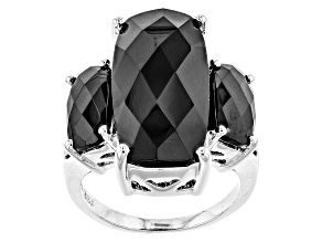 Black Spinel Sterling Silver 3-Stone Ring 17.22ctw.