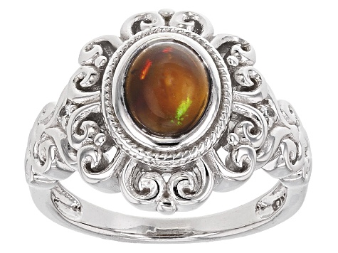 Black Ethiopian Opal Sterling Silver Ring .80ctw