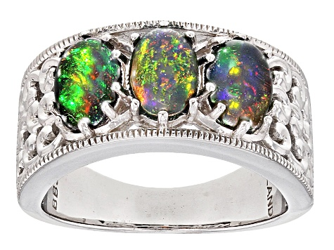 Black Ethiopian Opal Sterling Silver Ring 1.40ctw