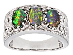 Black Ethiopian Opal Sterling Silver Ring 1.40ctw