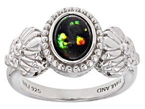 Black Ethiopian Opal Sterling Silver Ring .70ct