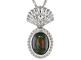 Black Ethiopian Opal Sterling Silver Pendant With Chain .70ct