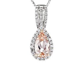 Peach Morganite Sterling Silver Pendant With Chain 1.44ctw
