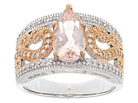 Pink Morganite Two-Tone Sterling Silver Ring 1.50ctw