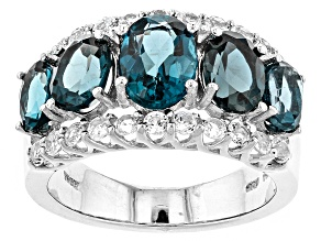 London Blue Topaz Sterling Silver Ring 4.87ctw