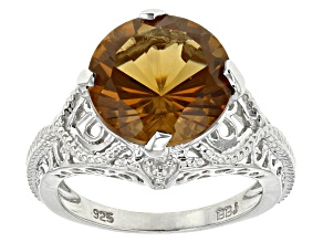 Brown Champagne Quartz Sterling Silver Ring 5.25ct
