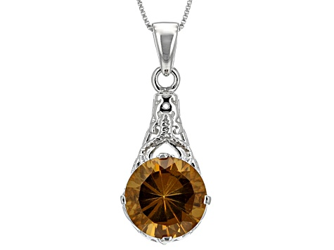 Brown Champagne Quartz Sterling Silver Pendant With Chain 5.52ct