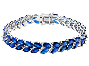 Blue Lab Created Spinel Sterling Silver Bracelet 26.31ctw
