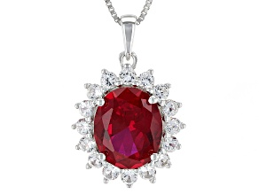 Red Lab Created Ruby Sterling Silver Pendant With Chain 6.33ctw