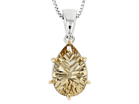 Brown Champagne Quartz Sterling Silver Pendant With Chain 3.31ct
