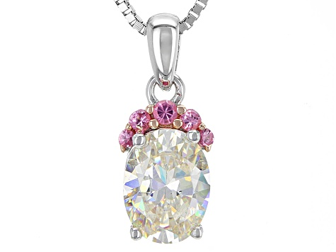 White Fabulite Strontium Titanate And Burmese Pink Spinel Rhodium Over Silver Pendant 1.61ctw