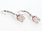 White Fabulite Strontium Titanate And Burmese Pink Spinel Sterling Silver Earrings 2.22ctw
