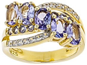 Blue Tanzanite 18k Gold Over Sterling Silver Crossover Ring 2.43ctw
