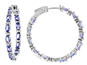 Blue Tanzantite Rhodium Over Sterling Silver inside/Outside Hoop Earrings 5.88ctw