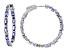 Blue Tanzantite Rhodium Over Sterling Silver inside/Outside Hoop Earrings 5.88ctw