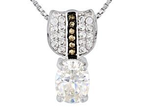 Fabulite Strontium Titanate Silver, Champagne Diamond And White Zircon Pendant 1.72ctw