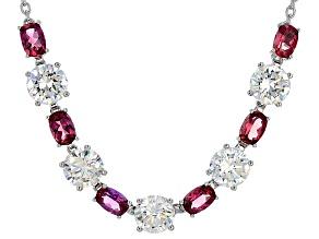 White Lab Created Strontium Titanate Silver Necklace 11.27ctw