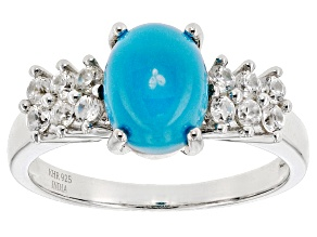 Blue Turquoise Sterling Silver Ring .48ctw