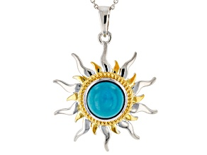 Blue Turquoise Sterling Silver Pendant With Chain
