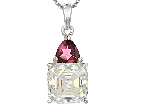 Fabulite Strontium Titanate And Pink Tourmaline Silver Pendant With Chain 3.61ctw
