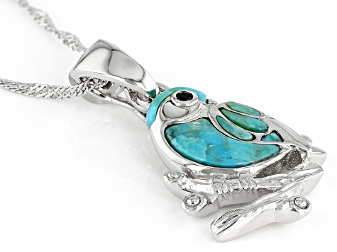 Blue Turquoise Rhodium Over Sterling Silver Bird Pendant With Chain .01ct