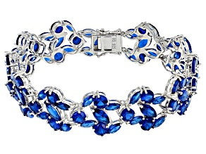 Blue Lab Spinel Sterling Silver Bracelet 31.56ctw