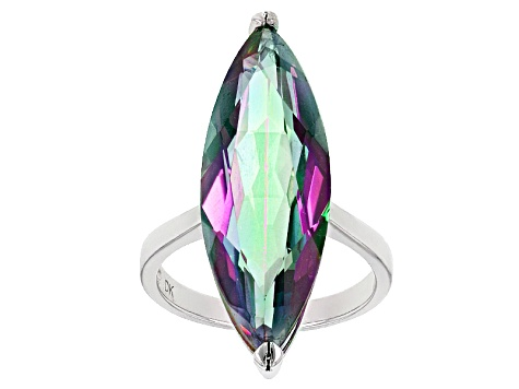 Multicolor Quartz Sterling Silver Solitaire Ring 10.50ctw