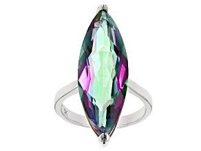 Multicolor Quartz Rhodium Over Sterling Silver Solitaire Ring 10.50ctw