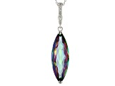 Multicolor Quartz Rhodium Over Sterling Silver Enhancer With Chain 12.16ctw