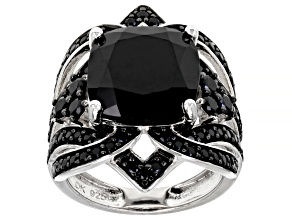 Black Spinel Sterling Silver Ring 7.03ctw