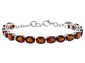 Red Hessonite Sterling Silver Tennis Bracelet 21.00ctw