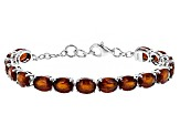 Red Hessonite Sterling Silver Tennis Bracelet 21.00ctw