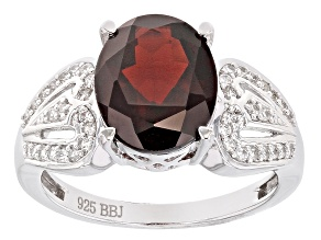 Red Garnet Sterling Silver Ring 3.39ct