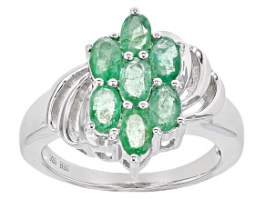 Green Emerald Sterling Silver Ring 1.37ctw