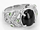 Black Spinel Sterling Silver Ring 7.80ctw