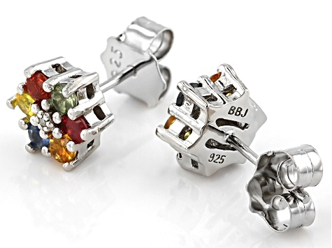 Multi-Sapphire Rhodium Over Sterling Silver Earrings .98ctw