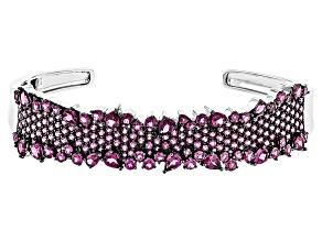 Purple Raspberry Rhodolite Sterling Silver Cuff Bracelet 13.77ctw