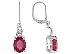 Mahaleo Ruby Sterling Silver Dangle Earrings 5.97ctw