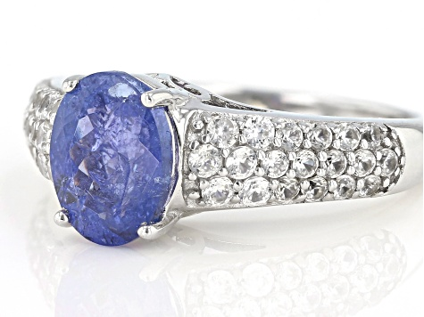 Blue Tanzanite Sterling Silver Ring 2.58ctw
