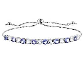 Blue Tanzanite Sterling Silver Sliding Adjustable Bracelet 4.24ctw