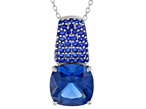 Blue Lab Spinel Sterling Silver Pendant With Chain 9.00ctw