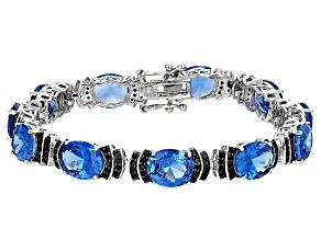 Blue Lab Spinel Sterling Silver Bracelet 28.78ctw