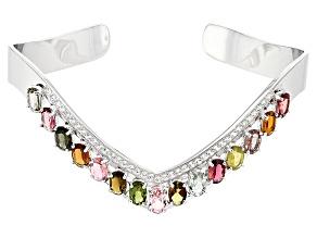 Multi-Tourmaline Sterling Silver Cuff Bracelet 6.20ctw