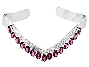 Purple Rhodolite Sterling Silver Cuff Bracelet 7.90ctw