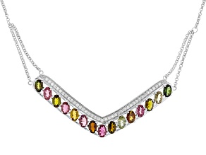 Multi-Tourmaline Sterling Silver Necklace 6.25ctw