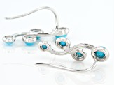 Blue Sleeping Beauty Turquoise Sterling Silver Climber Earrings