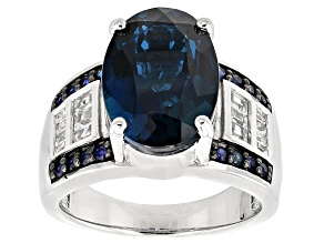 London Blue Topaz Sterling Silver Ring 6.82ctw