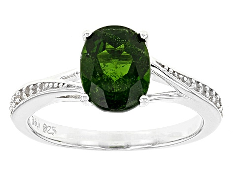 Green Russian Chrome Diopside Sterling Silver Ring 1.86ctw
